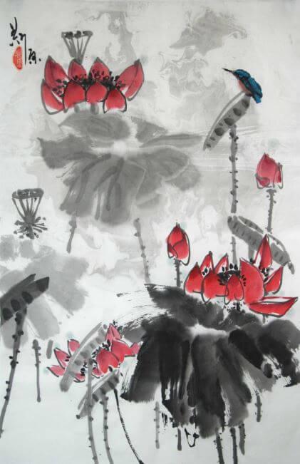 Buddhist symbol painting - Lotus symbol