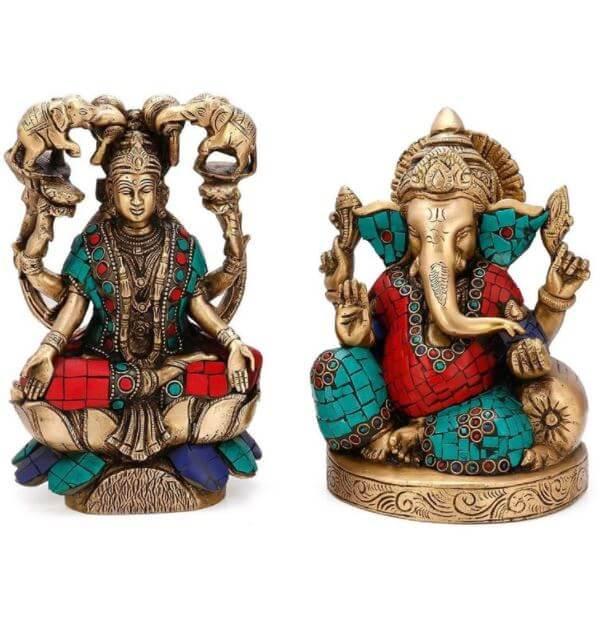 Ganesha and Goddess Lakshmi Idol - Hindu God Brass Statue