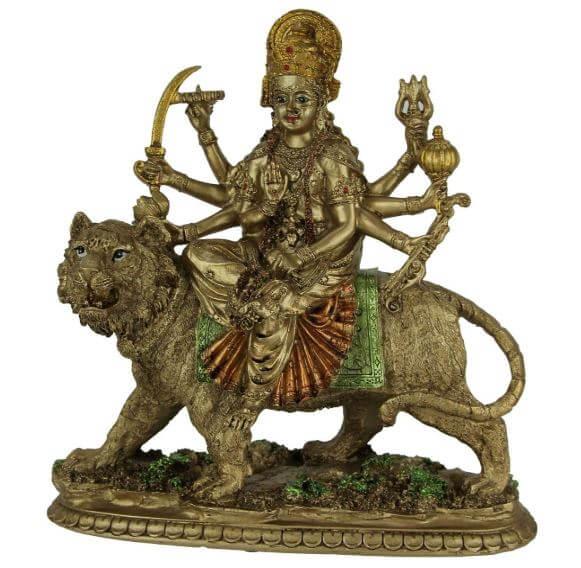 Hindu symbols text - Durga riding on Tiger