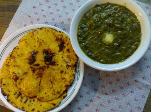 Indian cuisine Sarso ka Saag and Makki ki Roti
