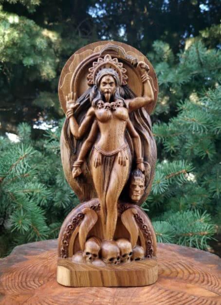 Sculpture Carving of Kali Hindu Deity Goddess of Renewal