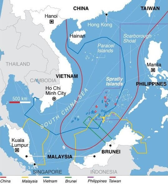 South China Sea dispute map