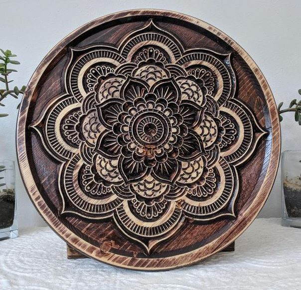 Wood curve lotus mandala decor